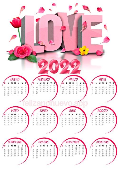 calendarios 2022 de amor