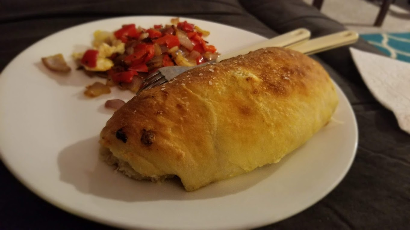 Two-cheese veggie calzone, from Dinnerly (huge!)