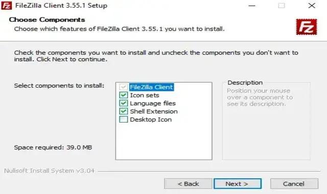 Create a filezilla icon on the desktop