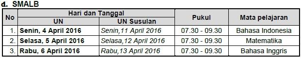 Jadwal Ujian Nasional SMALB 2016