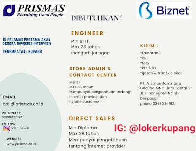 Lowongan Kerja Biznet Sebagai Engineer, Store Admin & Contact Center, Direct Sales