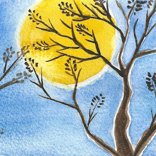 Moonlight tree silhouette watercolor painting