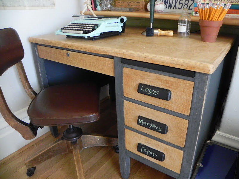 The After I Sanded Down Wood On Top And Drawer Fronts To Natural Oak Painted Body In Graphite Colored Chalk Paint
