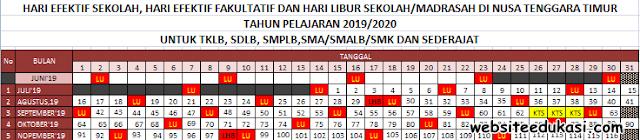 Kalender Pendidikan Nusa Tenggara Timur Tahun 2019/2020