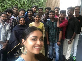 Keerthy Suresh with Cute and Lovely Smile for Taking a Selfie at Shooting Location