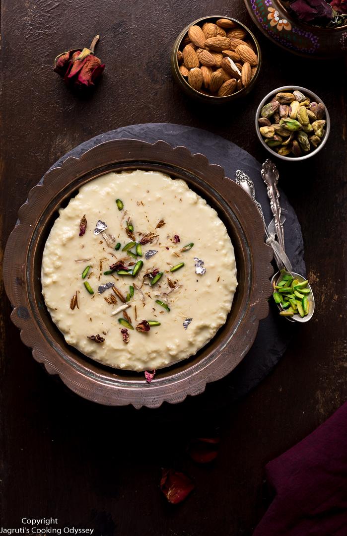 serving suggestion for rabdi, an indian milk dessert