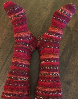 Socks are knitted with round toes and traditional  heel flap