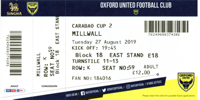 Oxford United FC ticket from 2019/20 season