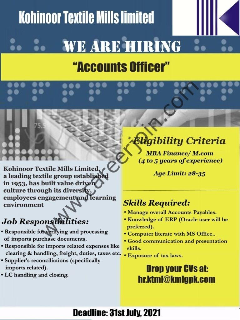 Kohinoor Textile Mills Ltd Jobs Accounts Officer