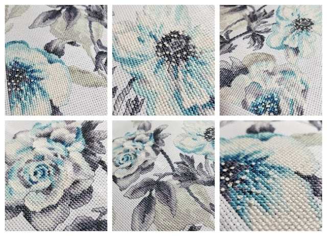 Teal Floral Cross Stitch Up Close
