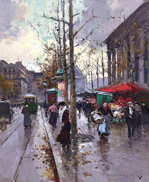 Edouard (Léon) Cortès, a wet street scene