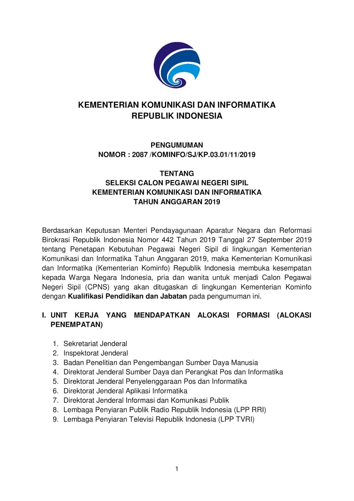 Lowongan CPNS Kementerian Komunikasi dan Informatika Tahun Anggaran 2019 [581 Formasi]