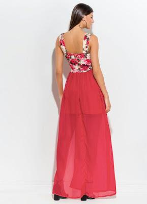 Tendências Vestido Longo com Fenda Floral e Vermelho