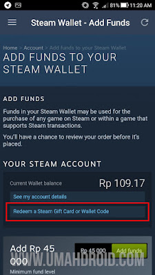 Pilih Redeem a Steam Gift Card or Wallet Code