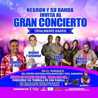 Negrón y su banda Realizarán concierto cristiano el próximo sábado en Barahona  totalmente gratis pro fondo grabación