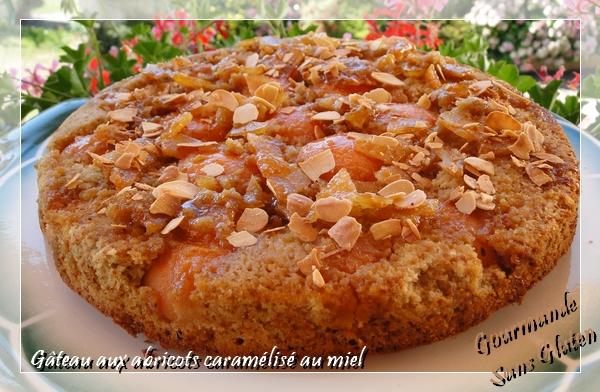 Gâteau aux abricots, caramélisé au miel, à la farine de châtaigne