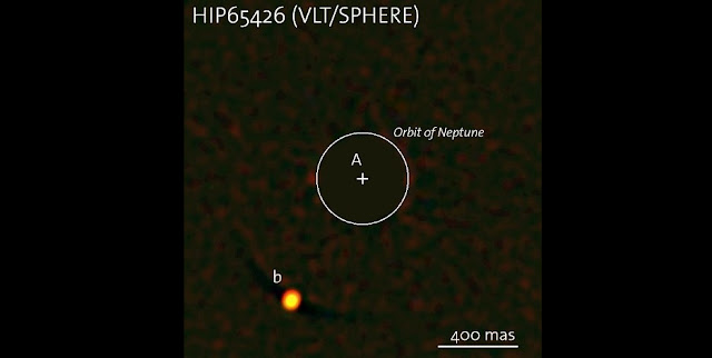 The exoplanet HIP 65426b — the first to be seen by the SPHERE instrument on ESO's Very Large Telescope. The image of the parent star has been removed from the image for clarity, and its position marked with a cross; the circle indicates the orbit of Neptune around the Sun on the same scale. The planet is clearly visible at the lower-left in this remarkable image.  Credit: ESO