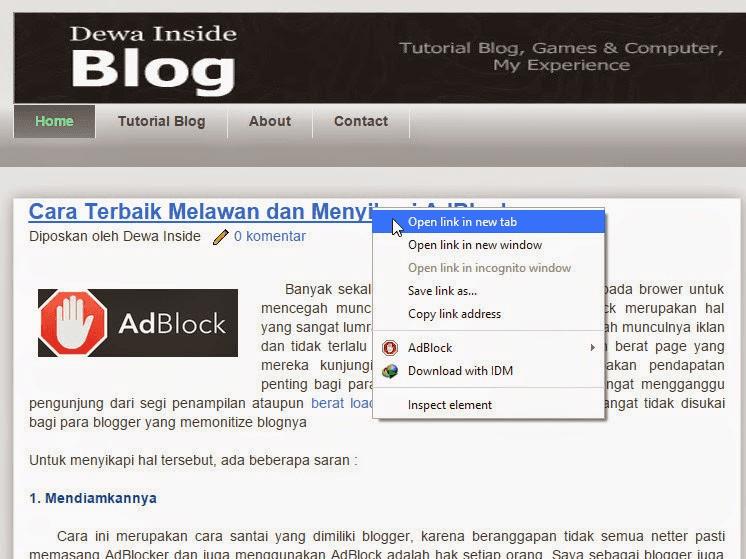 Cara Membuat Semua Link pada Blog Open New Tab