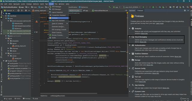 Open Firebase through Android Studio. Tools -> Firebase