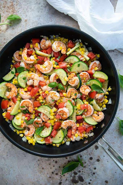 Shrimp, Corn, and Zucchini Stir Fry | The Blond Cook