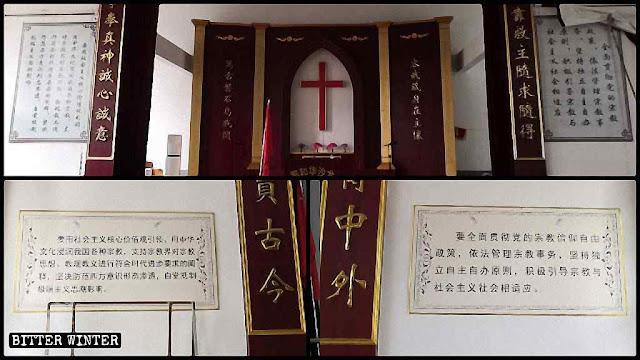 Quadros com o Decálogo substituídos com frases do déspota socialista Xi Jinping