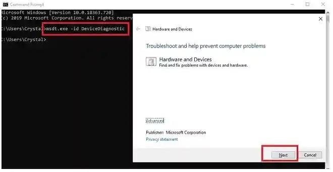 استخدم مستكشف أخطاء الأجهزة والجهاز Windows