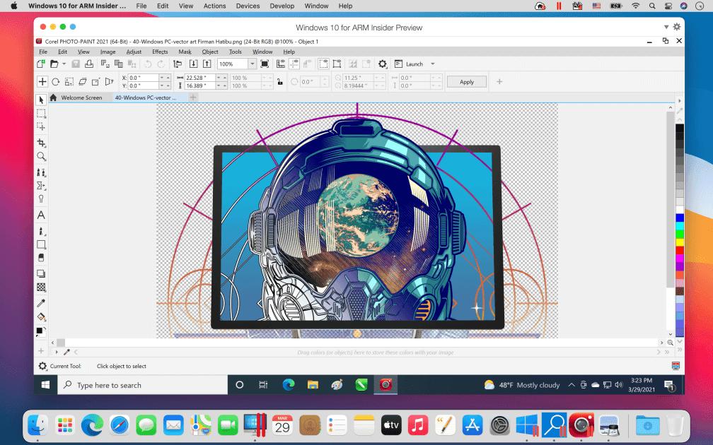 Corel PaintShop Pro running in Parallels Desktop on an M1 Mac