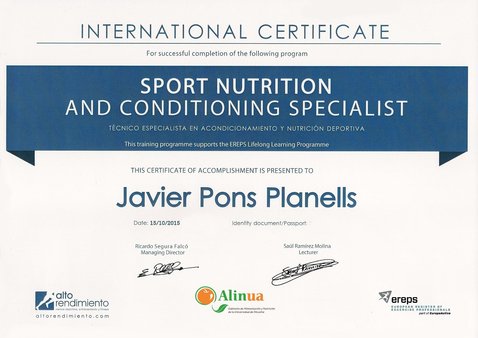 INTERNATIONAL CERTIFICATE SPORT NUTRITION