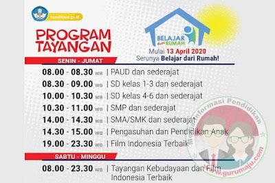 Jadwal Belajar dari Rumah di TVRI untuk PAUD, SD, SMP dan SMA