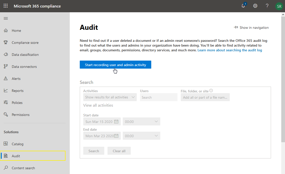 enable audit log for sharepoint online