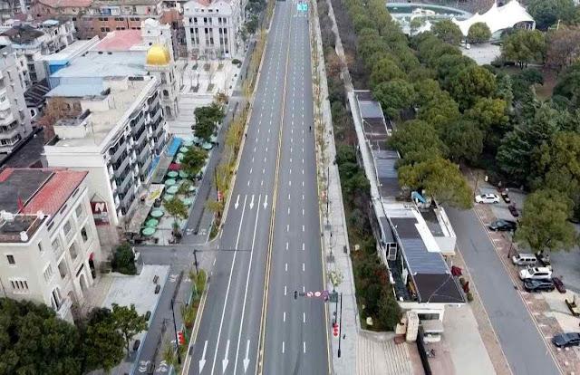 Wuhan deserta, foto de drone. 4 milhões teriam fugido