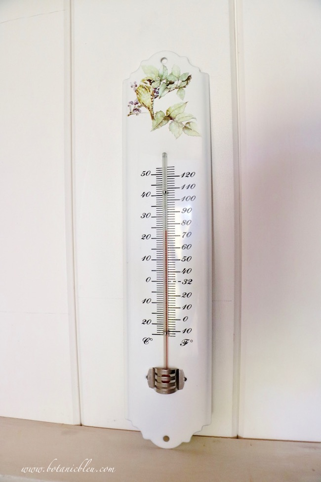 French Country laundry ORC French Style thermometer shows updated insulation keeps the room warm