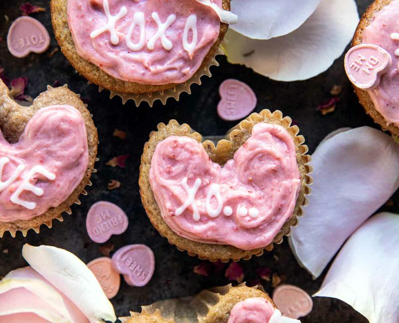 Strawberry Conversation Heart Cupcakes