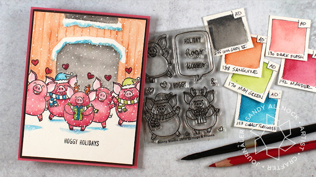 Sunny Studio Stamps: Hogs & Kisses Customer Christmas Themed Card by Sandy Allnock