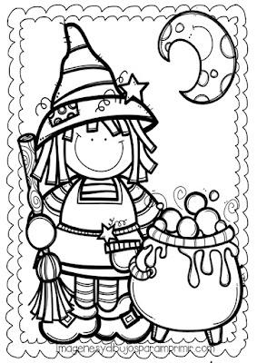 Dibujo infantil de halloween para colorear con una bruja