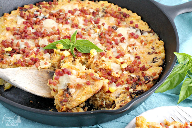 With the addition of crispy pancetta, Parmesan cheese, & sun dried tomatoes, this Italian Style Corn Casserole is not your grandmother's corn casserole.