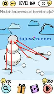 level 169 brain test jawaban : membuat boneka salju maukah kamu?