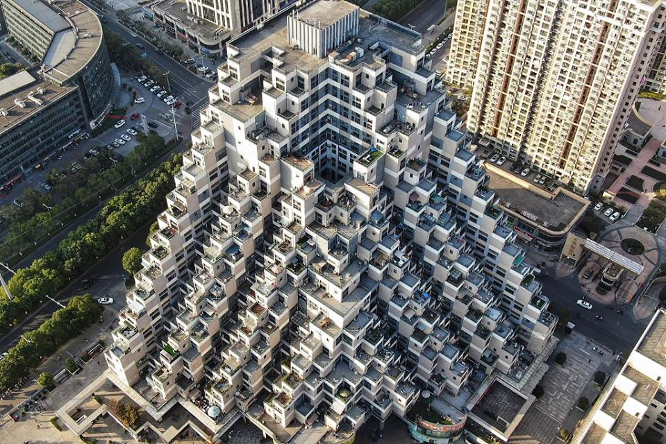 This Lego-like complex becomes trendy spot in east China