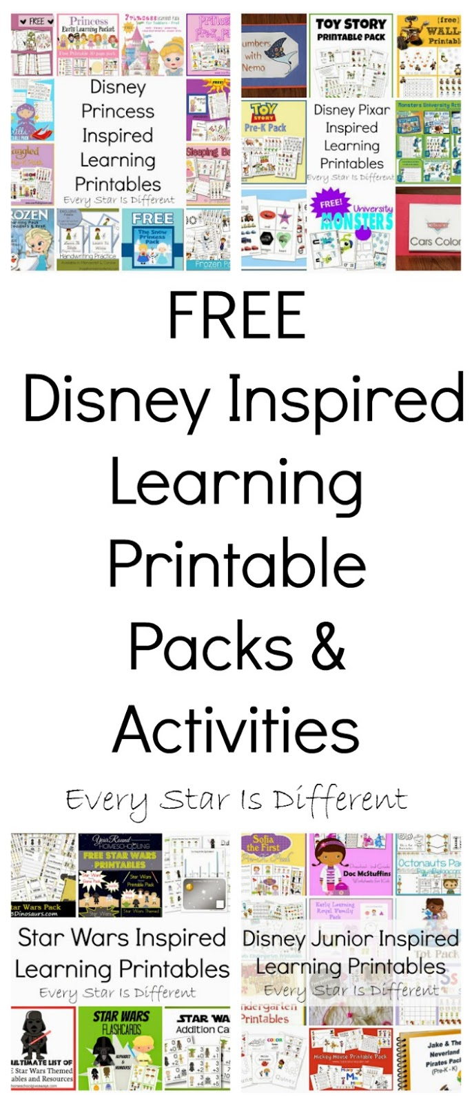 FREE Disney Inspired Learning Printable Packs \u0026 Activities - Every Star Is  Different [ 1600 x 685 Pixel ]