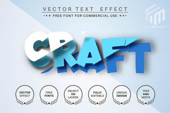 Cut Blue Paper Editable Text Effect Font Style