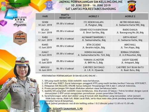 Jadwal mobil SIM Keliling Polrestabes Bandung bulan Juni 2019.