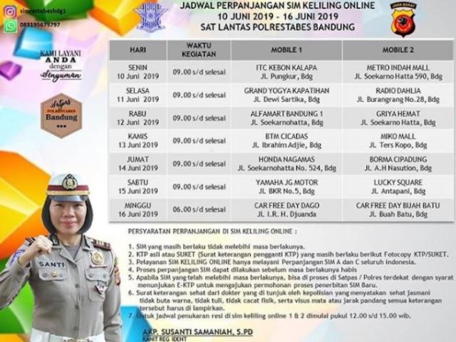 Jadwal SIM Keliling Polrestabes Bandung Bulan Juni 2019