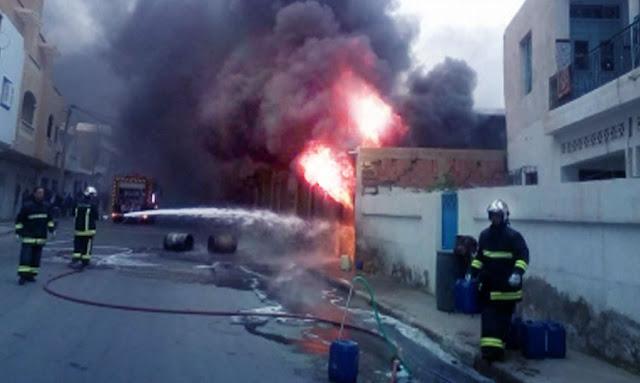 سيدي بوزيد: ارتفاع عدد المصابين في حريق محل لبيع البنزين المهرّب