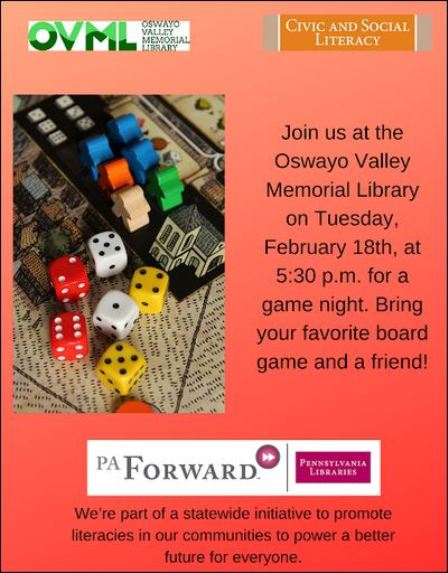 "2-18 ""Game Night"" at OVML"