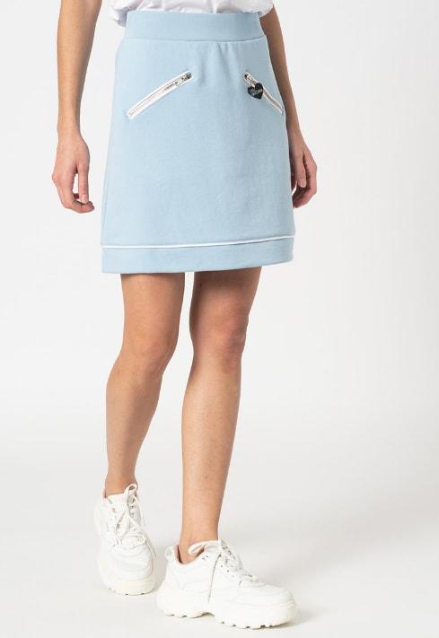 Fusta mini cu buzunare de culoare albastra
