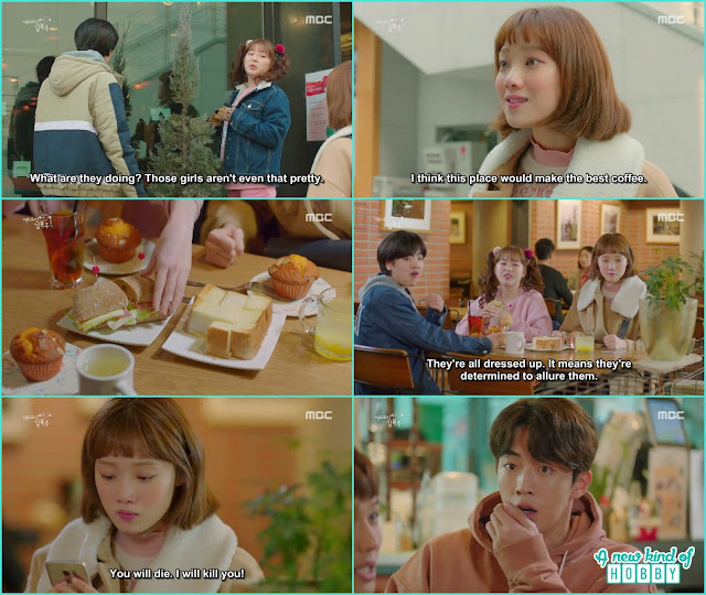 a fellow told bok joo about joon hyung double date she with her friends come to that cafe - Weightlifting Fairy Kim Bok Joo: Episode 14