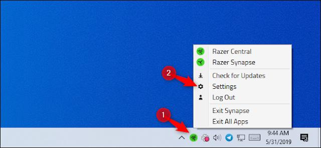 فتح إعدادات Razer من رمز علبة النظام