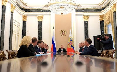 Vladimir Putin with Russian Government Members.