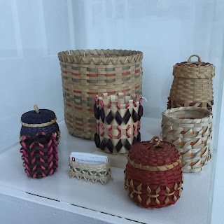 Black ash baskets exhibited in Bodéwadmi Wisgat Gokpenagen |  The Black Ash Baskets of the Pokagon Band of Potawatomi Indians in Sullivant Hall 141. Image Courtesy of the Newark Earthworks Center.
