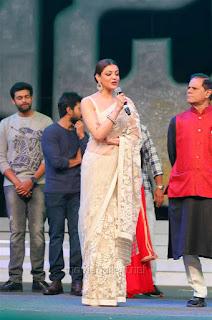 Kajal Aggarwal In Beautiful Designer Saree at Khiladi 150 Meet (15).jpg